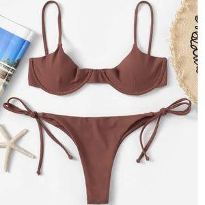 Underwired Cami Top With Tie Side Bikini Set